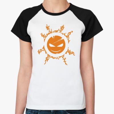 Женская футболка реглан Апельсиновый Тимыч (бел/чёрн)