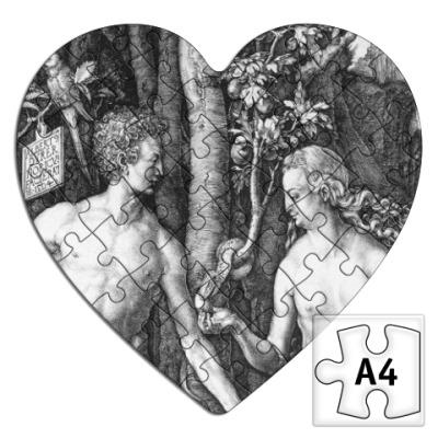 Пазл  сердце  ~ Адам и Ева