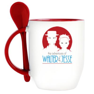 Кружка с ложкой Уолтер и Джесси