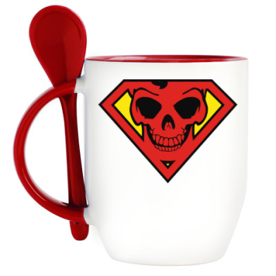 Кружка с ложкой Skull Superman