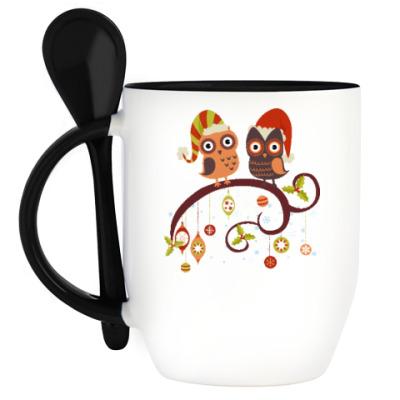 Кружка с ложкой Две совы зимой