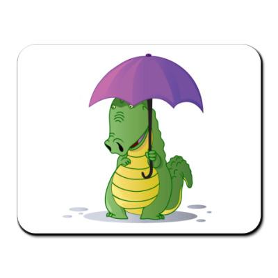 Коврик для мыши Крокодильчик с зонтиком