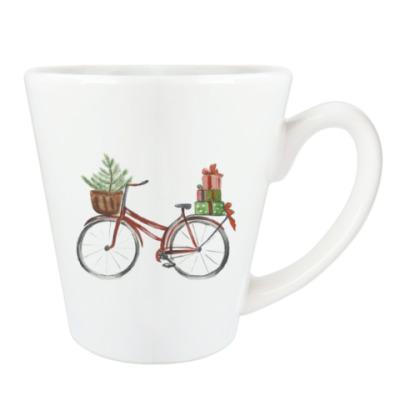 Чашка Латте рождественский велосипед