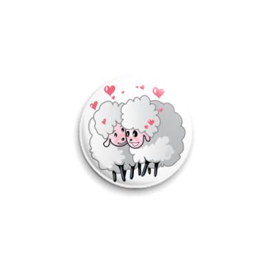 Значок 25мм Две овечки