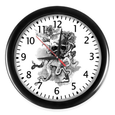 Настенные часы Череп-кальмар