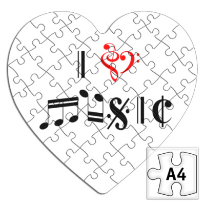 Пазл 'I love music'