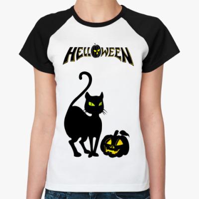 Женская футболка реглан Helloween  (бел/чёрн)