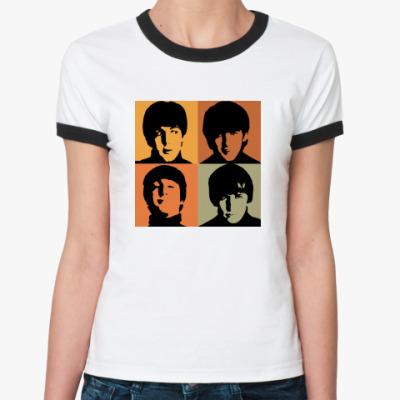 Женская футболка Ringer-T  Fab Four (женс кант)