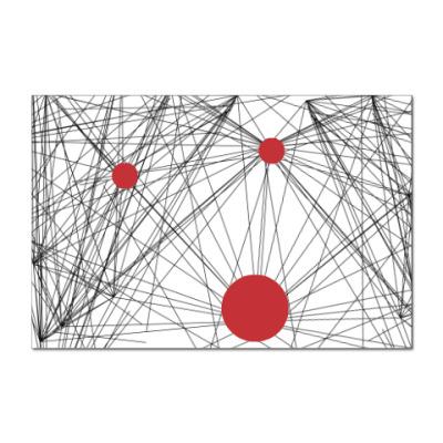 Наклейка (стикер) линейная абстракция с планетами