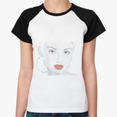 Женская футболка реглан эффектная  блондинка