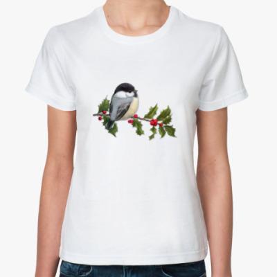 Классическая футболка Синица на ветке