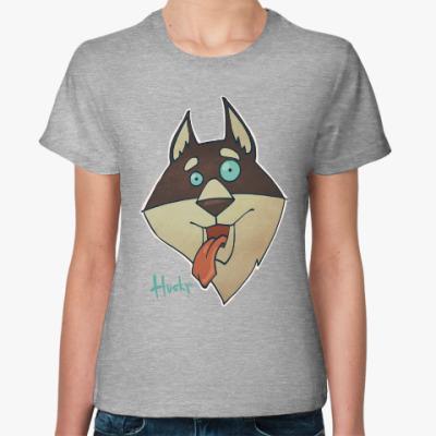 Женская футболка Crazy Хаски