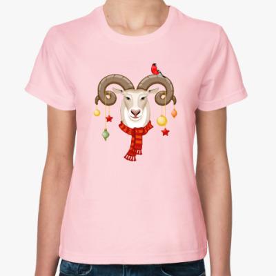 Женская футболка Новогодний Баран