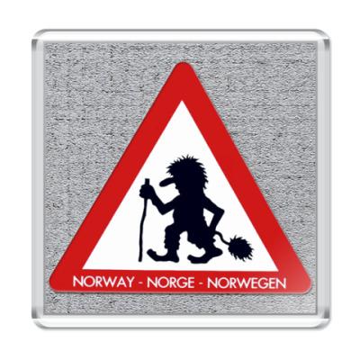 Магнит Осторожно,норвежские Тролли!