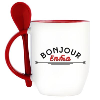 Кружка с ложкой Bonjour ёпта!
