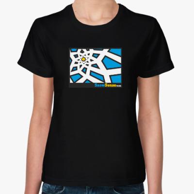 Женская футболка Женская футболка с белым солнышком (разные цвета)