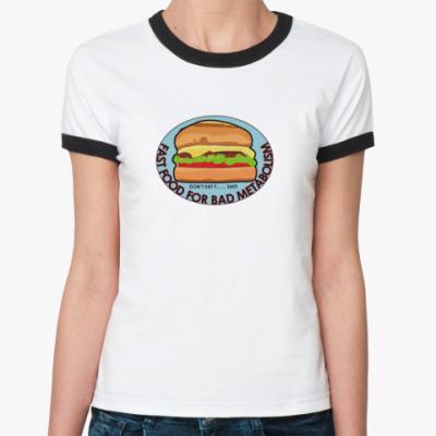 Женская футболка Ringer-T   (бл/ч)Макдональдс