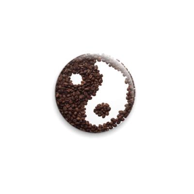 Значок 25мм . Инь-янь из кофе.