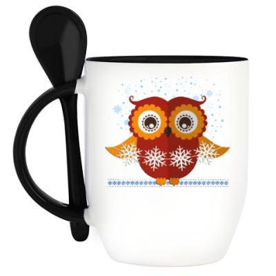 Кружка с ложкой Зимняя сова