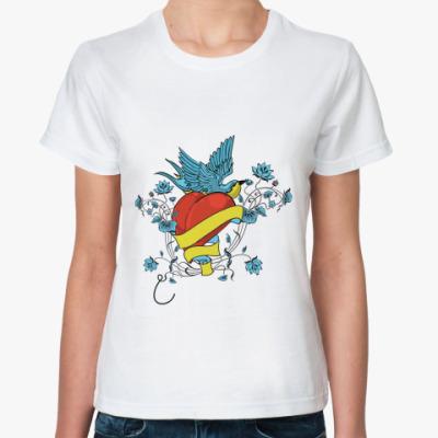 Классическая футболка Сердце и птица
