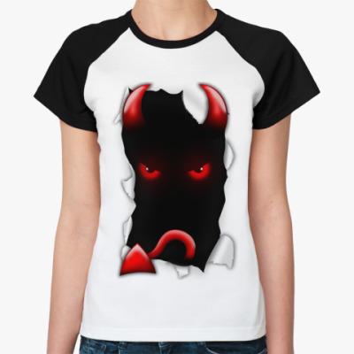 Женская футболка реглан 'Дьявол'