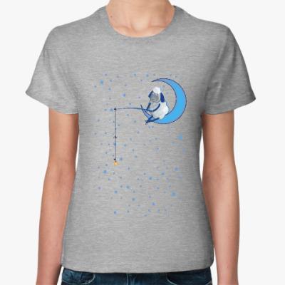 Женская футболка Барашек на луне