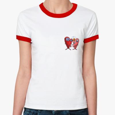 Женская футболка Ringer-T  'Любовь'