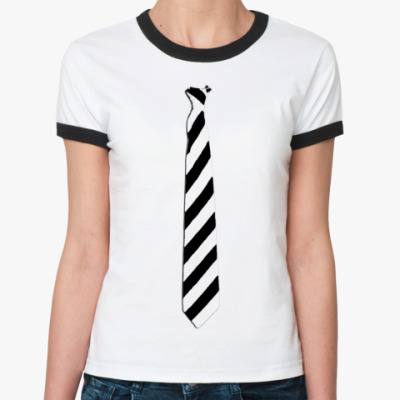 Женская футболка Ringer-T Женск. `Галстук в косую ч/б`