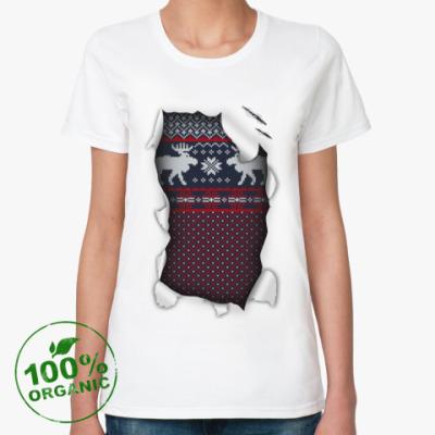 Женская футболка из органик-хлопка  'Вязанный свитер'
