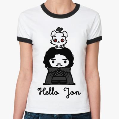 Женская футболка Ringer-T Hello Jon