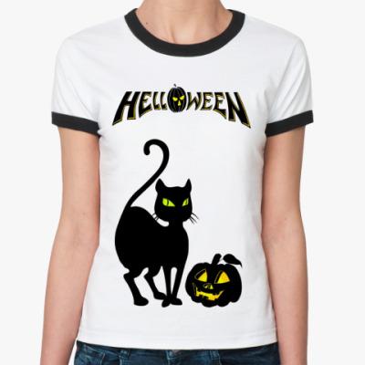 Женская футболка Ringer-T Helloween  (бел/чёрн)