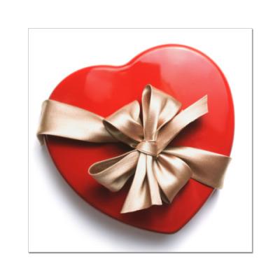 Наклейка (стикер) Коробка-сердце