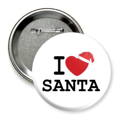 Значок 75мм Новогодний принт I Love Santa