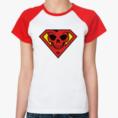 Женская футболка реглан Skull Superman
