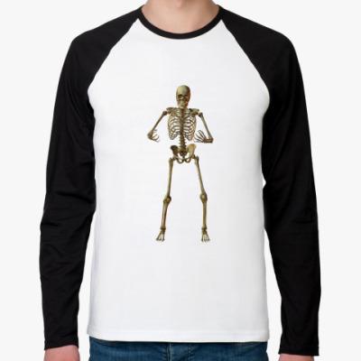 Футболка реглан с длинным рукавом скелет