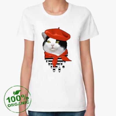 Женская футболка из органик-хлопка Кот-Француз