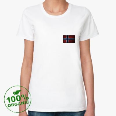 Женская футболка из органик-хлопка  'Норвежский флаг'