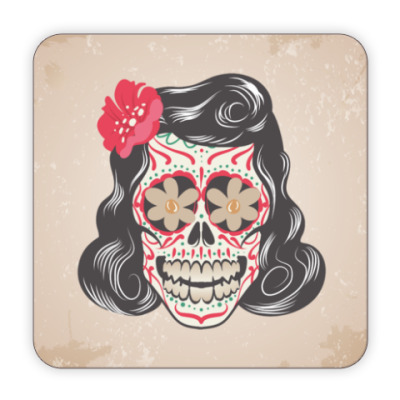 Костер (подставка под кружку) Skull Girl