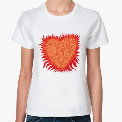 Классическая футболка Сердце Огонь