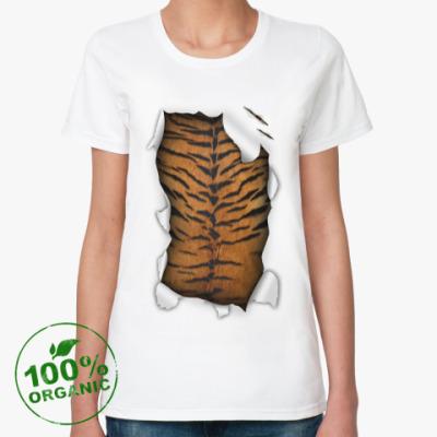 Женская футболка из органик-хлопка Тигр