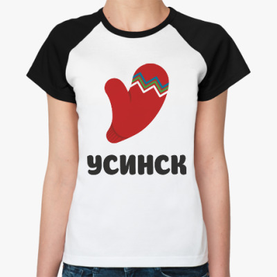 Женская футболка реглан логотип города Усинск
