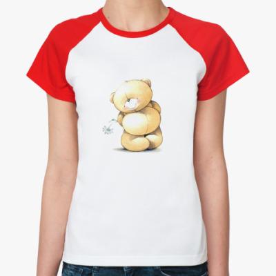 Женская футболка реглан Скромный Мишка