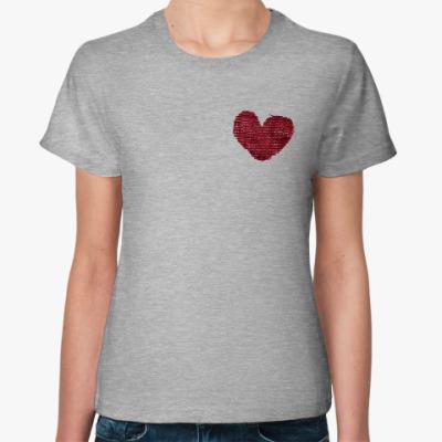 Женская футболка Заштопанное сердце