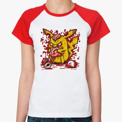 Женская футболка реглан Пикачу Монстр