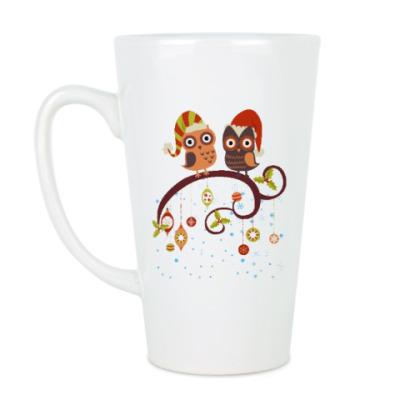 Чашка Латте Две совы зимой
