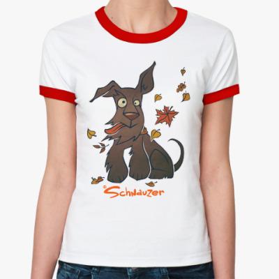 Женская футболка Ringer-T Осенний шнауцер