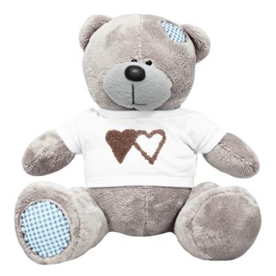 Плюшевый мишка Тедди Мишка с сердечками из кофе