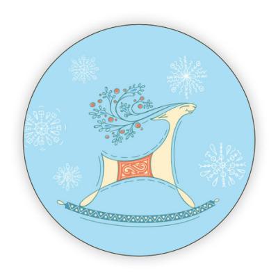 Костер (подставка под кружку) Снежный олень