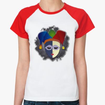 Женская футболка реглан Чёрный Паяц