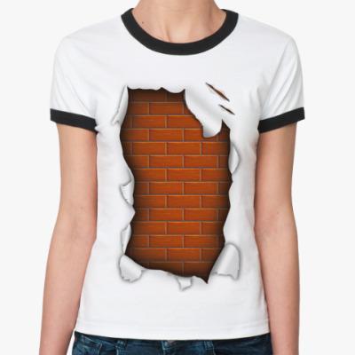 Женская футболка Ringer-T 'Кирпичи'